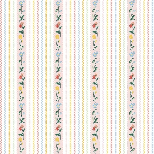 Penny Rose Fabrics - Bunnies and Cream Stripe Pink
