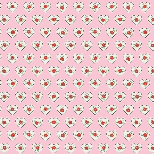Penny Rose Fabrics - Little Dolly by Elea Lutz - Hearts in Pink