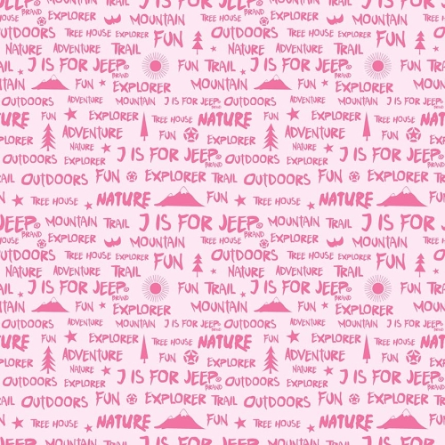 Riley Blake Designs - J is for Jeep Words in Pink