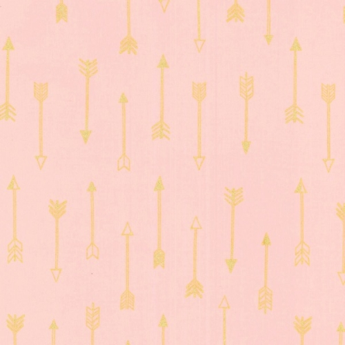 Michael Miller - Arrow Flight - Arrows in Blush with Gold metallic accents