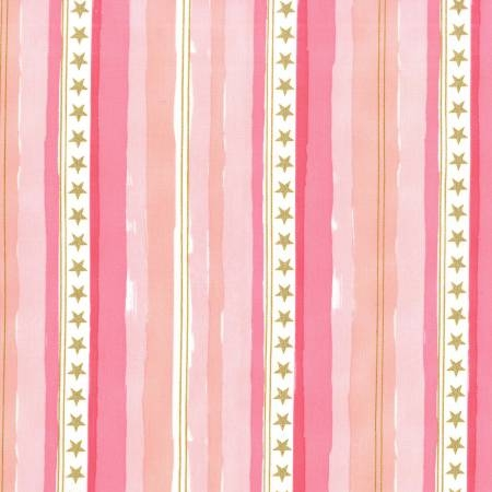 Michael Miller - Magic by Sarah Jane - Stars and Stripes in Pink with Metallic Gold