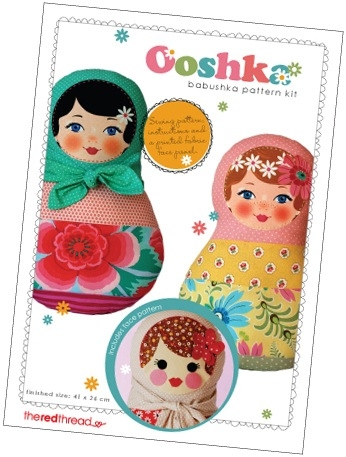 The Red Thread - Ooshka Babushka Doll Pattern plus printed fabric face panel