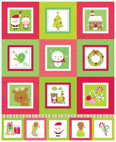 Riley Blake Designs - Santa Express Panel in Green