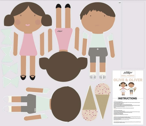 Riley Blake Designs - Doll Softie Panels Boy & Girl with Brown Hair