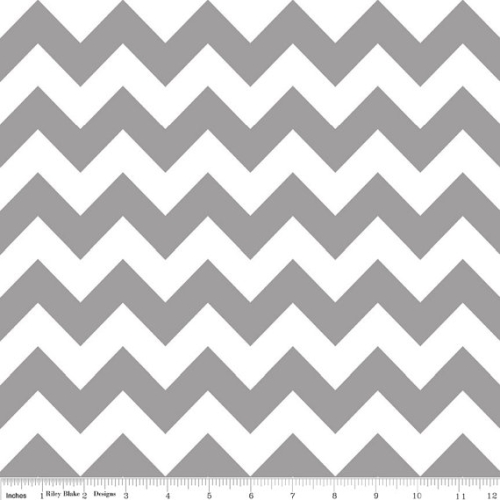 Riley Blake Designs - Medium Chevron in Gray / Grey
