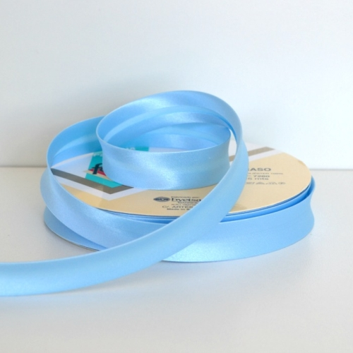 Satin Bias Binding Trim 18mm Single Fold - Light Blue