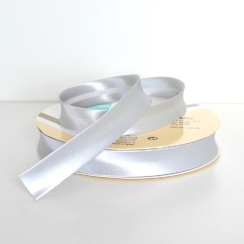 Satin Bias Binding Trim 18mm Single Fold - Silver