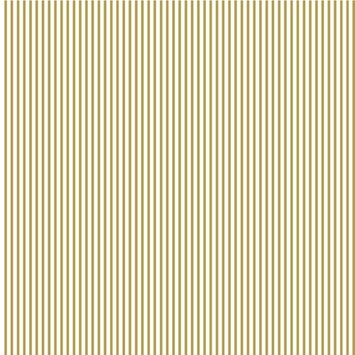 Riley Blake Designs - Small Stripe in Gold Metallic Sparkle on White