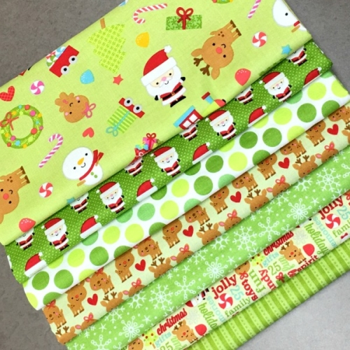 Riley Blake Designs - Santa Express Green - Bundle of 7 Fabrics