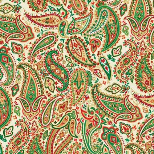 Andover - Traditional Metallic Christmas - Paisley on White