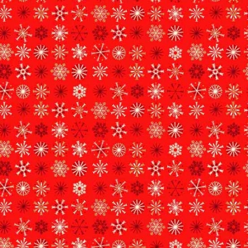 Andover - Traditional Metallic Christmas - Snowflakes on Red
