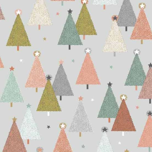 Andover - Modern Metallic Christmas - Trees on Grey
