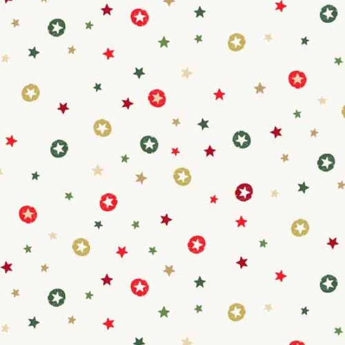 Andover - Modern Metallic Christmas - Stars on Off White