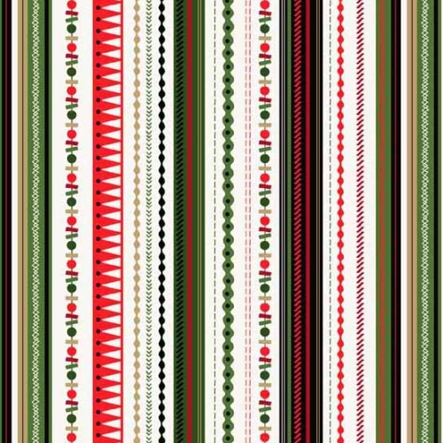 Andover - Modern Metallic Christmas - Stripe on Off White