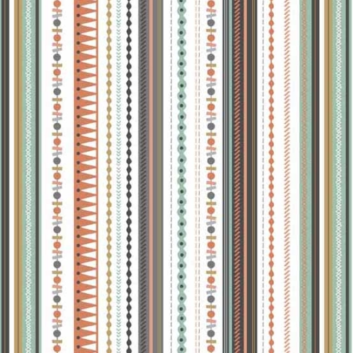 Andover - Modern Metallic Christmas - Stripe on White