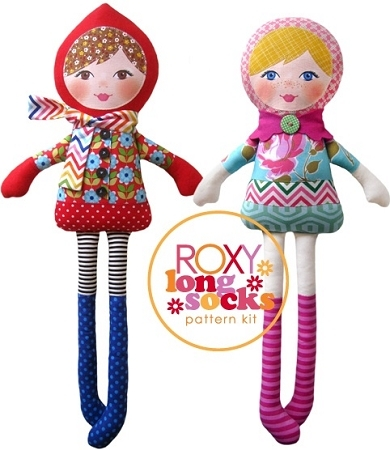 The Red Thread - Roxy Long Socks Doll Pattern plus printed fabric face panel