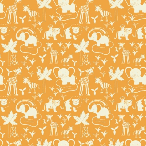 Lewis and Irene - Safari Park - Safari Animals on Orange *** REMNANT PIECE 71CM X 112CM ***