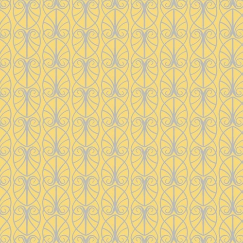 Lewis and Irene - April Showers - Parisian Fretwork on Yellow *** REMNANT 1.08 METRE PIECE ***