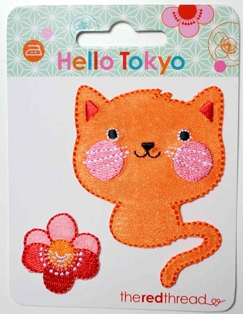 Hello Tokyo Iron on Motif Applique - Cat by The Red Thread for Robert Kaufman