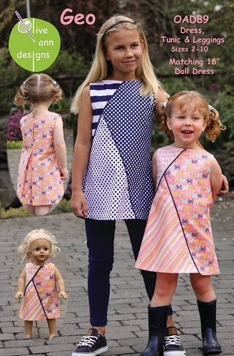 Olive Ann Designs - Geo Dress, Tunic and Leggings plus Dolls Dress Pattern