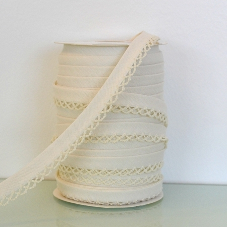 Picot Edge Bias Binding Trim - Ivory