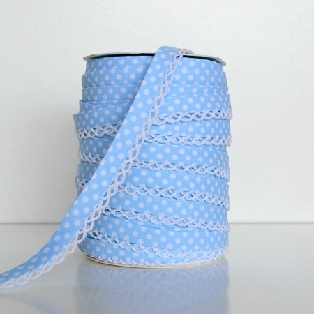 Picot Edge Bias Binding Trim - Baby Blue Spot