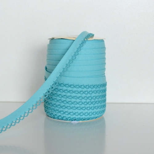 Picot Edge Bias Binding Trim - Aqua