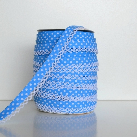 Picot Edge Bias Binding Trim - Mid Blue Spot