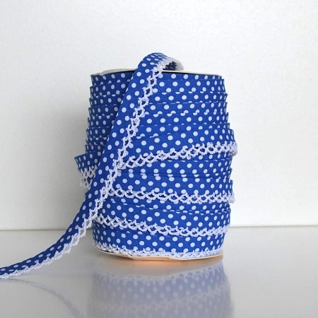 Picot Edge Bias Binding Trim - Royal Blue Spot