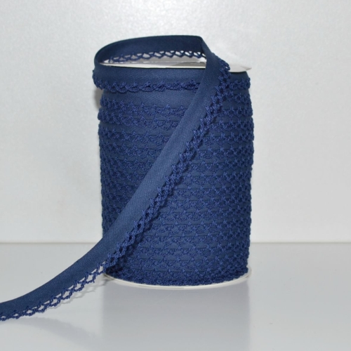 Picot Edge Bias Binding Trim - Navy
