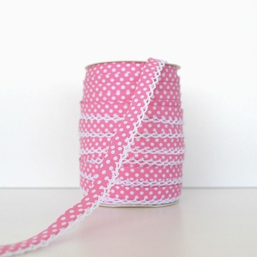 Picot Edge Bias Binding Trim - Pink Spot