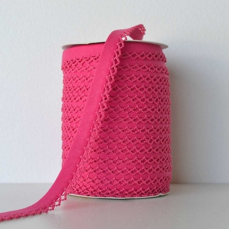Picot Edge Bias Binding Trim - Hot Pink