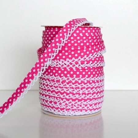 Picot Edge Bias Binding Trim - Hot Pink Spot
