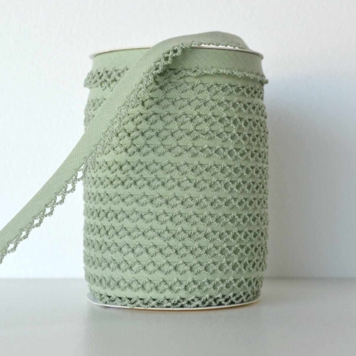 Picot Edge Bias Binding Trim - Sage