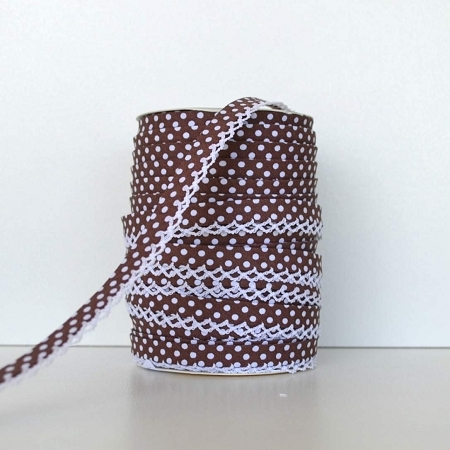 Picot Edge Bias Binding Trim - Brown Spot