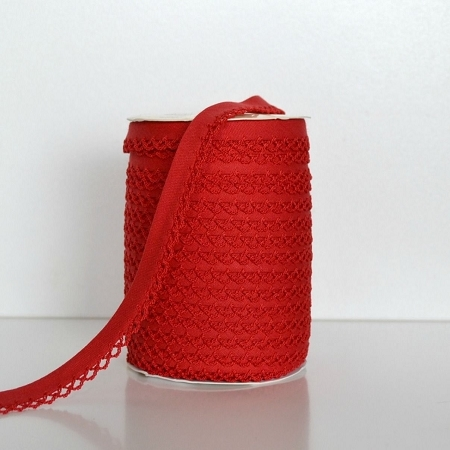Picot Edge Bias Binding Trim - Red