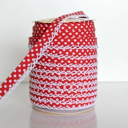 Picot Edge Bias Binding Trim - Red Spot