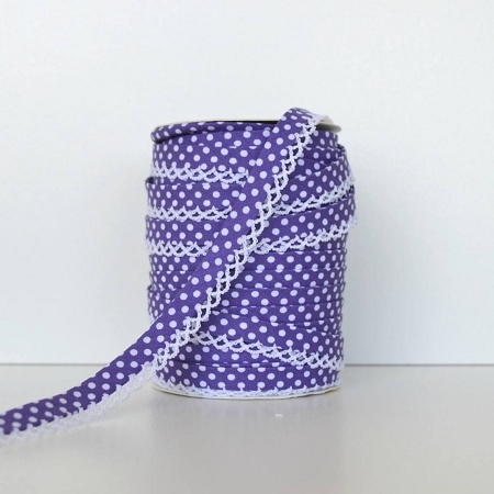 Picot Edge Bias Binding Trim - Purple Spot