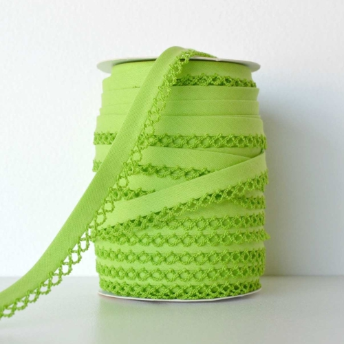 Picot Edge Bias Binding Trim - Lime Green