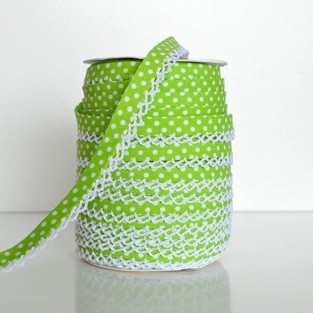 Picot Edge Bias Binding Trim - Lime Spot