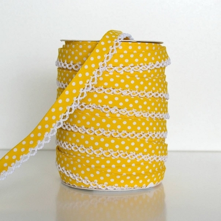 Picot Edge Bias Binding Trim - Yellow Spot