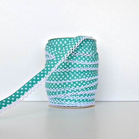 Picot Edge Bias Binding Trim - Teal Spot