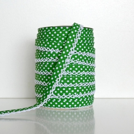 Picot Edge Bias Binding Trim - Green Spot