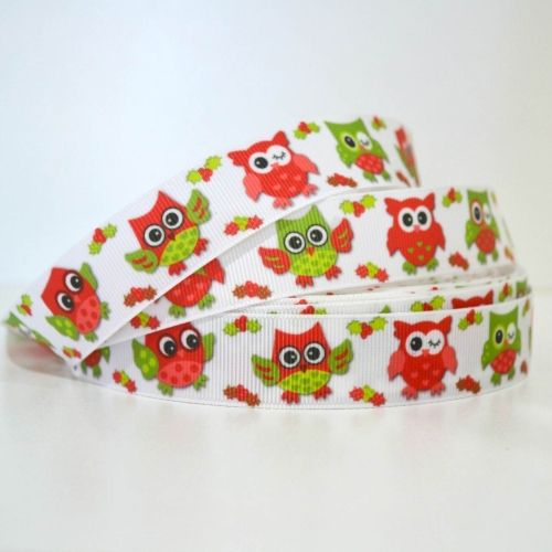 Printed Grosgrain Ribbon - Christmas Owls1 - 25mm