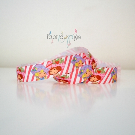 Printed Grosgrain Ribbon - Classic Vintage Strawberry Shortcake - 22mm