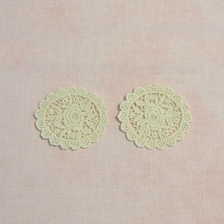 Lace Applique / Motif - Sweet Rose Oval in Beige - Pack of 2