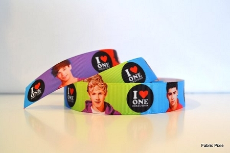 Printed Grosgrain Ribbon - One Direction Boys - 22mm