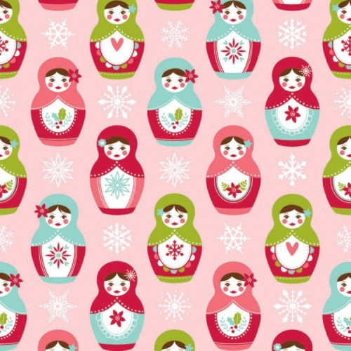 Riley Blake Designs - Merry Matryoshka Main in Pink