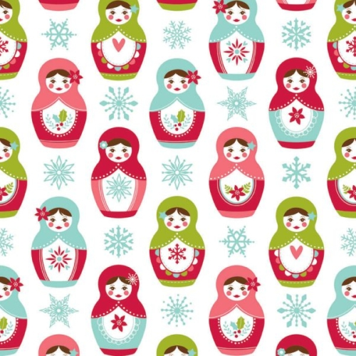 Riley Blake Designs - Merry Matryoshka Main in White *** FULL BOLT OF 9.1 METRES ***