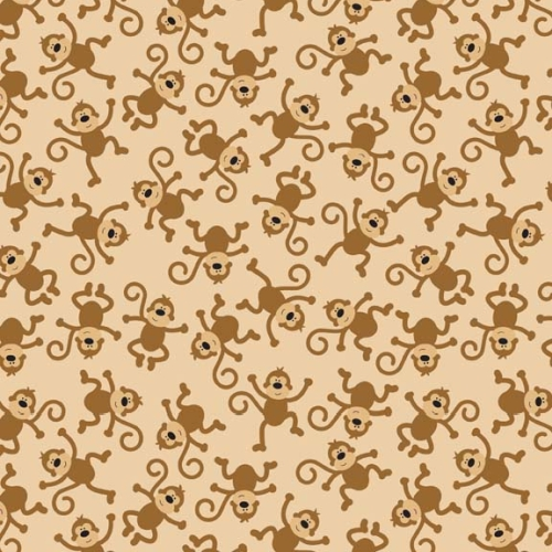 Riley Blake Designs - Zoofari - Monkey in Brown